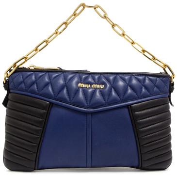 Miu Miu Blue & Black Quilted Nappa Clutch