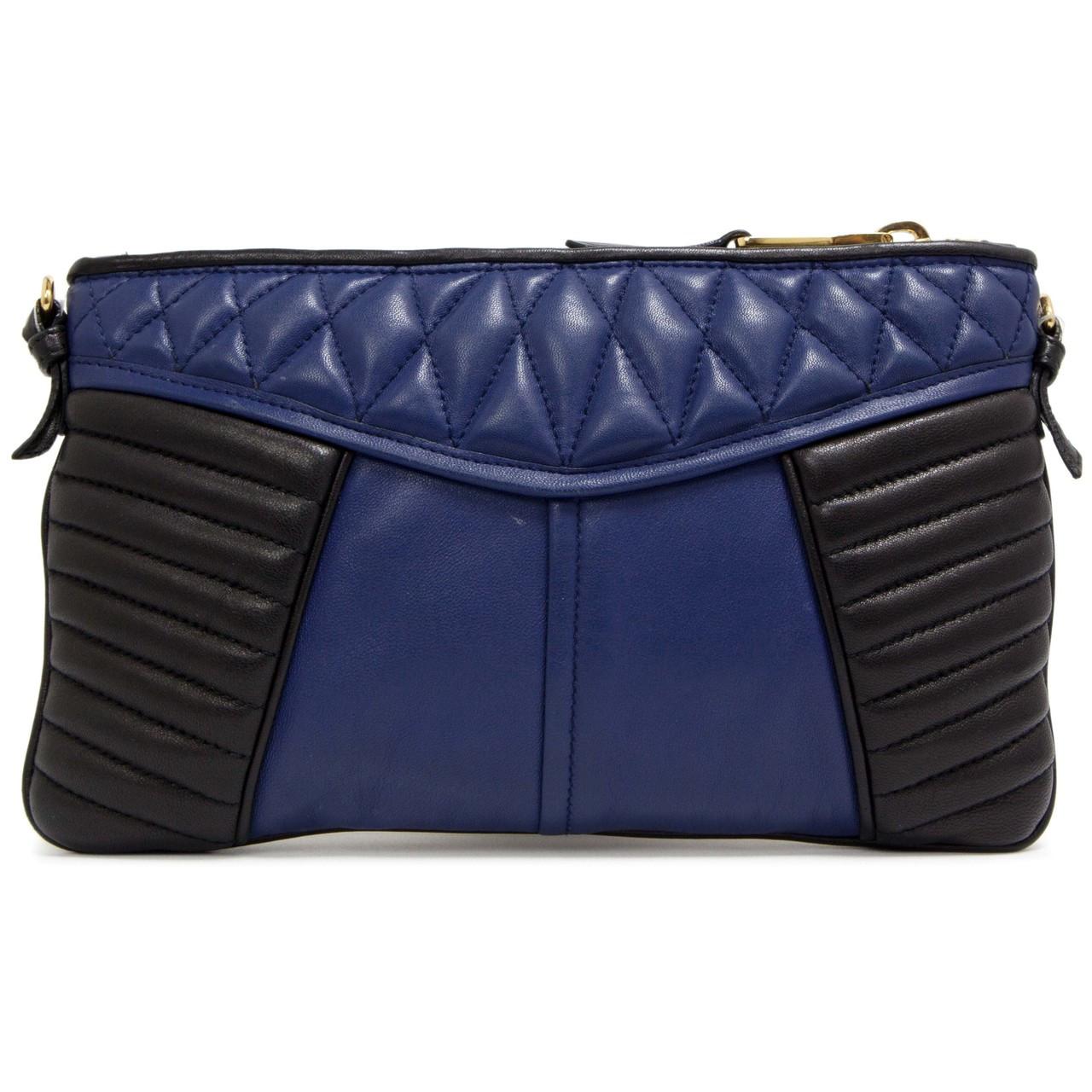 3b0243af75c0 Miu Miu Blue   Black Quilted Nappa Clutch - modaselle