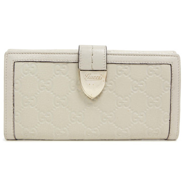 Gucci Ivory Guccissima Continental Flap Wallet