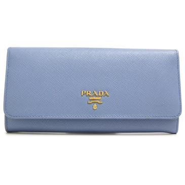 Prada Blue Saffiano Continental Flap Wallet