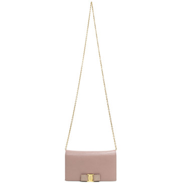 Salvatore Ferragamo Nude Miss Vara Bow Wallet on Chain
