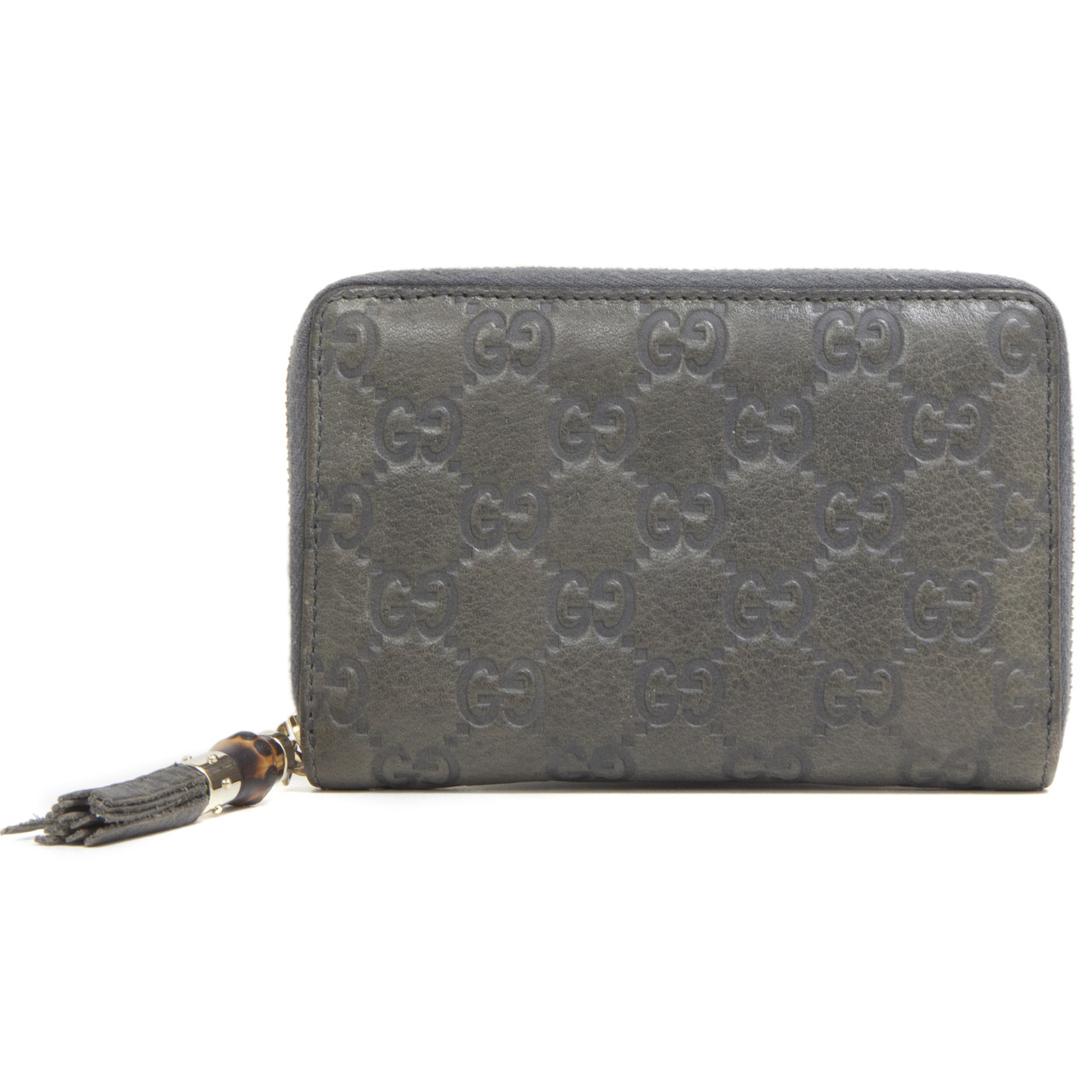 d15b83af3e57 Gucci Grey Guccissima Bamboo Zip Wallet - modaselle