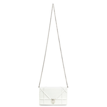 Dior White Calfskin Diorama Wallet on Chain