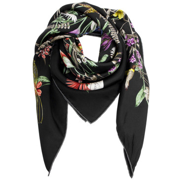 Gucci Black Silk Blooming in Your Garden Floral Scarf