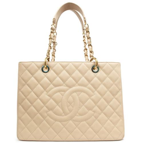 550aa66feb9c Chanel Beige Caviar Grand Shopping Tote GST - modaselle