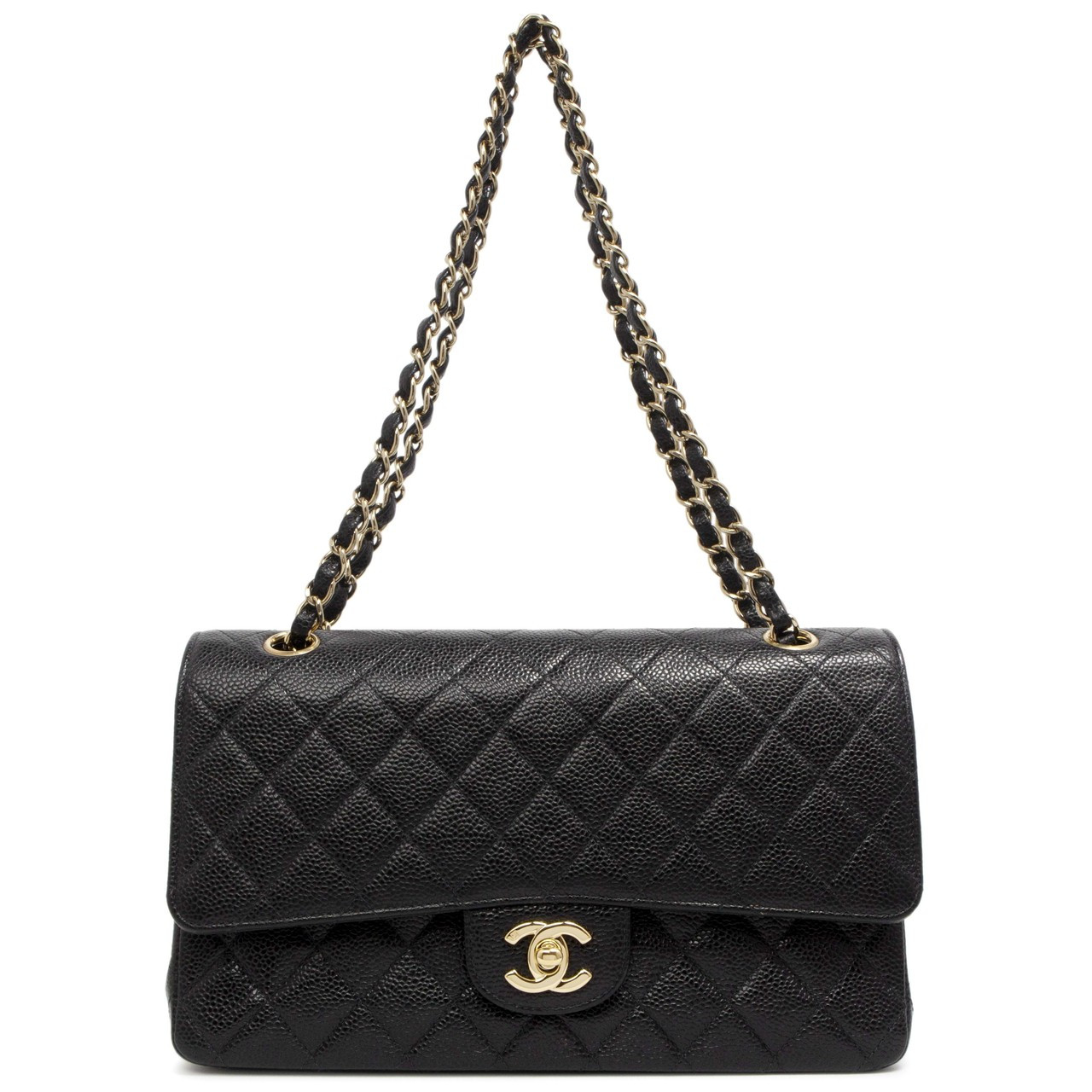 a236536513e3 Chanel Black Quilted Caviar Medium Classic Double Flap - modaselle