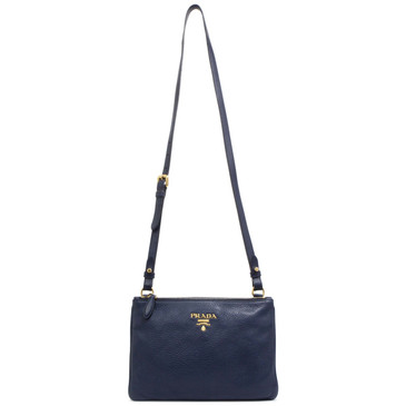 Prada Navy Vitello Phenix Double Zip Crossbody