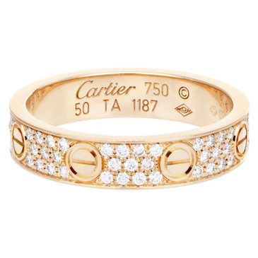 Cartier 18K Pink Gold Pave Diamond Love Wedding Band