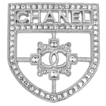 Chanel Swarovski Crystal CC Shield Brooch