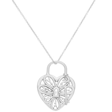 Tiffany & Co. Sterling Silver Filigree Heart & Key Pendant