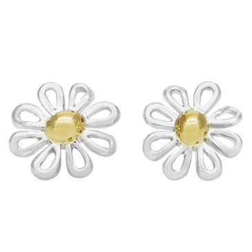 Tiffany & Co. Sterling Silver & 18K Daisy Earrings