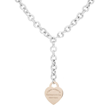 Tiffany & Co. Sterling Silver & Rubedo Heart Tag Lariat Necklace