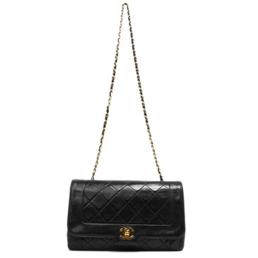 1c267df3ba3c Chanel Black Quilted Lambskin Vintage Flap Bag