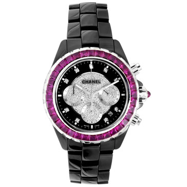 Chanel Black Ceramic, 18K White Gold, Diamond & Ruby J12 Chronograph Automatic Watch H2160