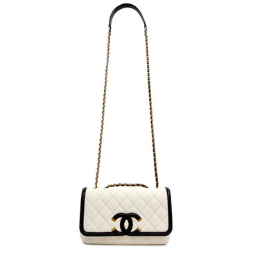 Chanel Ivory Quilted Caviar Small Filigree Flap