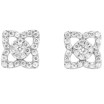 De Beers 18K White Gold & Diamond Enchanted Lotus Small Stud Earrings