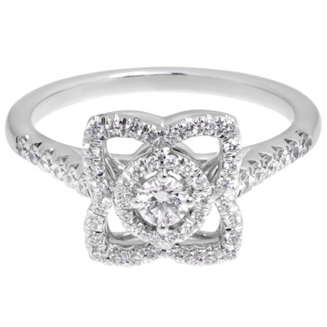 De Beers 18K White Gold & Diamond Enchanted Lotus Single Motif Ring