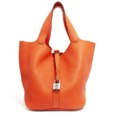 Hermes Feu Orange Clemence Picotin Lock 26 Bag
