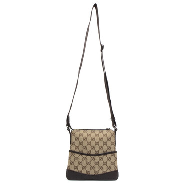 Gucci Brown Monogram Canvas Small Perforated Messenger