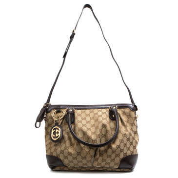 Gucci Brown Monogram Canvas Medium Sukey Top Handle Bag