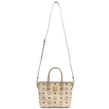 MCM Beige Visetos Canvas Mini Anya Top Zip Shopper Tote