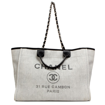 Chanel Grey Canvas Large Deauville Tote