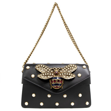 Gucci Black Calfskin Broadway Bee Mini Bag