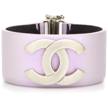 Chanel Lilac Iridescent Calfskin CC Cuff Bracelet