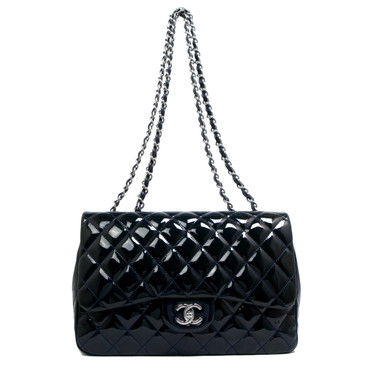 Chanel Navy Patent Leather Jumbo Single Flap