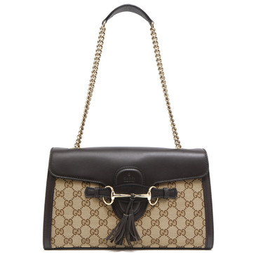 Gucci Brown Monogram Medium Emily Chain Shoulder Bag