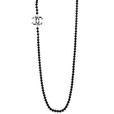 Chanel Black Baguette Crystal Beaded CC Necklace