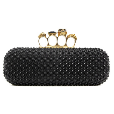 Alexander McQueen Black Studded Skull Knuckle Box Clutch