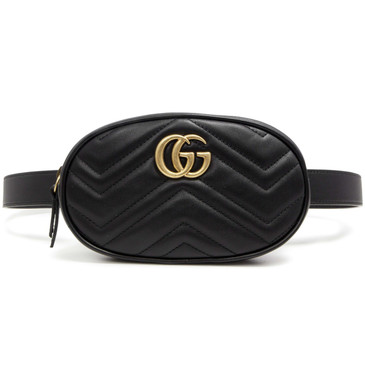 Gucci Black GG Marmont Matelasse Leather Belt  Bag