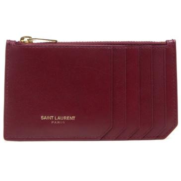 Saint Laurent Red Calfskin 5 Fragments Zip Pouch Card Holder