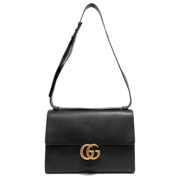 Gucci Black Calfskin GG Marmont Messenger Bag