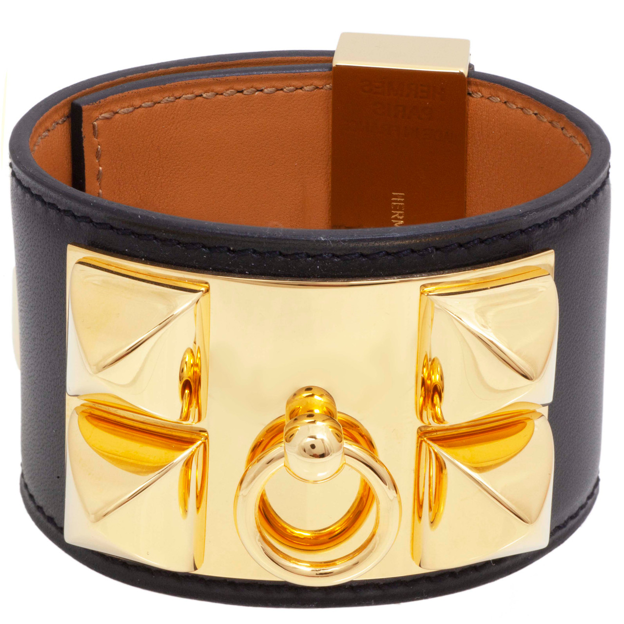 a2b81a37181 Hermes Black Box Calfskin Collier de Chien Bracelet - modaselle