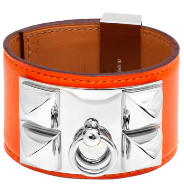 Hermes Orange Box Calfskin Collier de Chien Bracelet