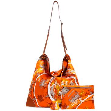 Hermes Orange Jeu Des Omnibus Silk City Bag