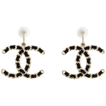 Chanel Black Satin CC Chain Earrings