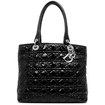 Dior Black Cannage Patent Tote