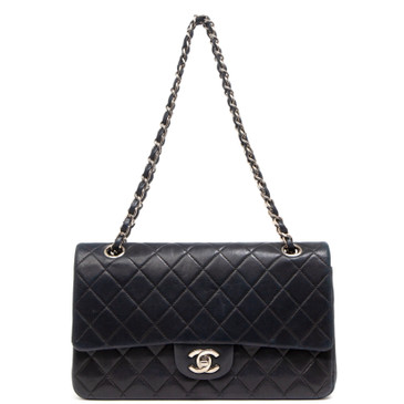 Chanel Navy Blue Lambskin Medium Classic Double Flap