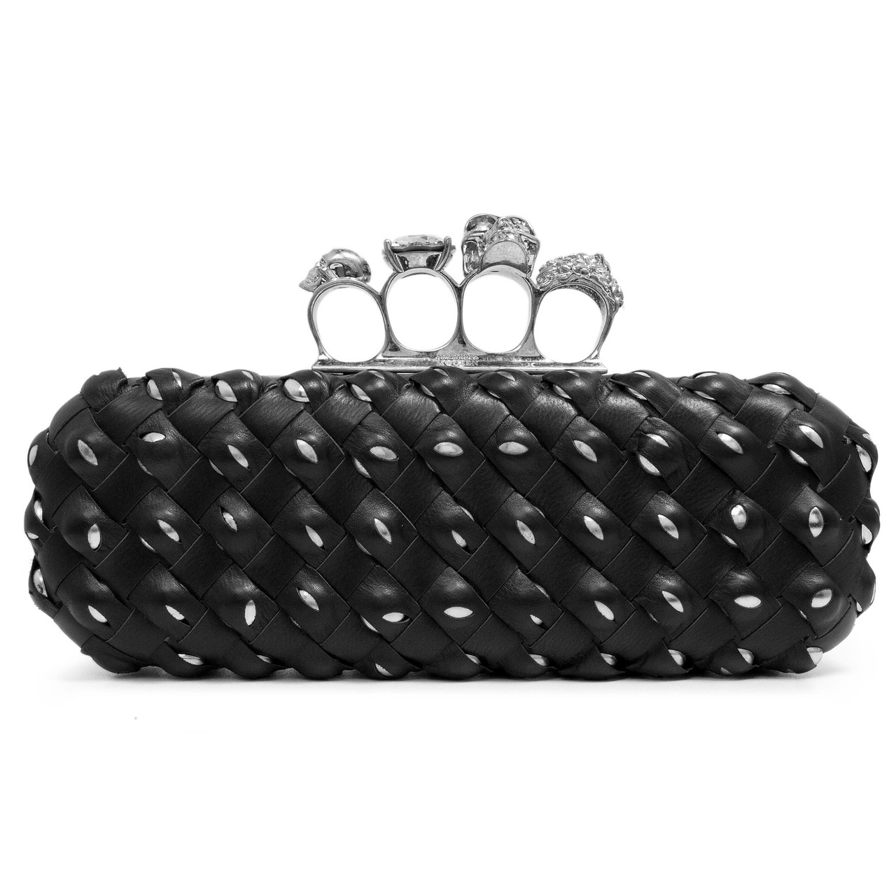 a7322fa574137 Alexander McQueen Studded Black Interwoven Leather Knuckle Box ...