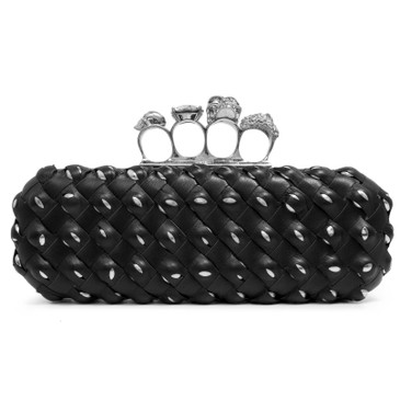 Alexander McQueen Studded Black Interwoven Leather Knuckle Box Clutch