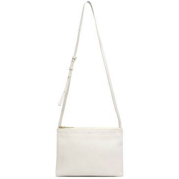 Celine White Goatskin Large Trio Crossbody