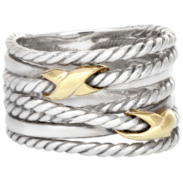 David Yurman Sterling Silver & 18K Yellow Gold Double X Crossover Ring
