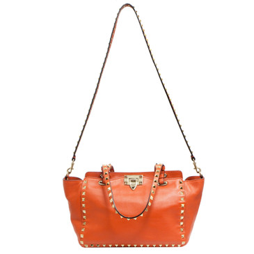 Valentino Orange Calfskin Small Rockstud Tote