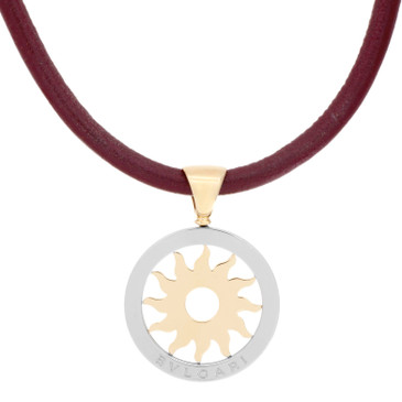Bvlgari Tondo Sun 18k Yellow Gold & Stainless Steel Pendant Necklace