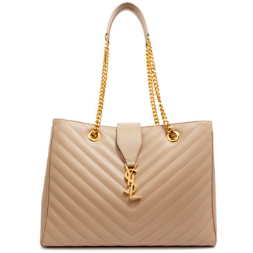 Saint Laurent Beige Grain De Poudre Matelasse Chevron Monogram Shopping Tote