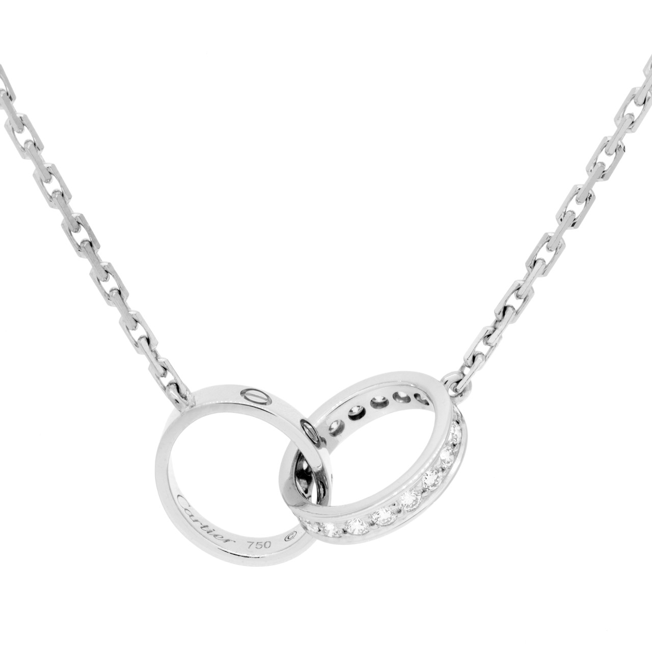 b897a2c1515276 Cartier 18K White Gold & Diamond Love Necklace - modaselle