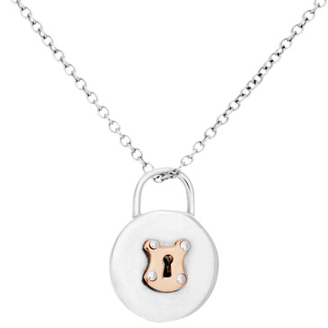 Tiffany & Co. Sterling Silver & 18K Rose Gold Round Lock Pendant Necklace